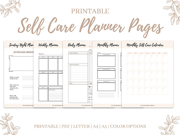 Self Care Workbook Planner Pages